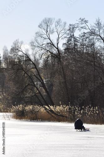 Aluminium Prints Bison Krajobraz mazurski - wędkarz