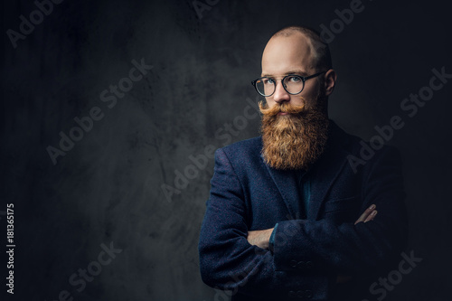 Redhead bearded male in a suit. Canvas Print