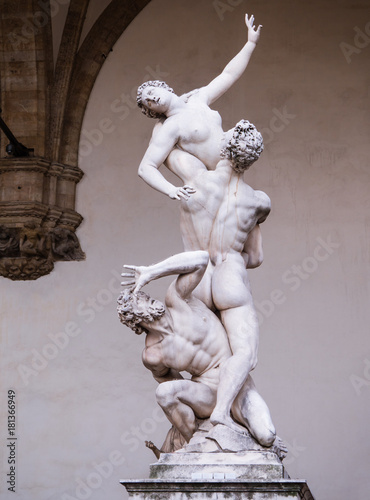 Statue of the rape of the Sabine women in Florence, Italy Wallpaper Mural