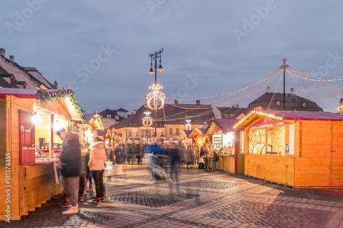 Poster Jogging Christmas market in Sibiu main square, Transylvania, Romania