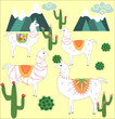 Four Llama, alpaca of white color, with bright saddles against the background of mountains, cacti, clouds