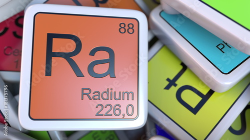 Radium Ra block on the pile of periodic table of the chemical elements blocks Wallpaper Mural