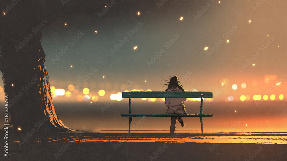 Fototapety, obrazy: back view of young woman sitting on a bench with bokeh light, digital art style, illustration painting