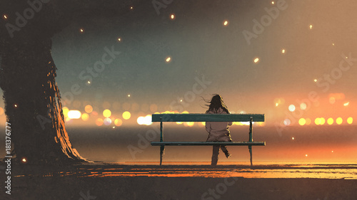 Fotomural back view of young woman sitting on a bench with bokeh light, digital art style,