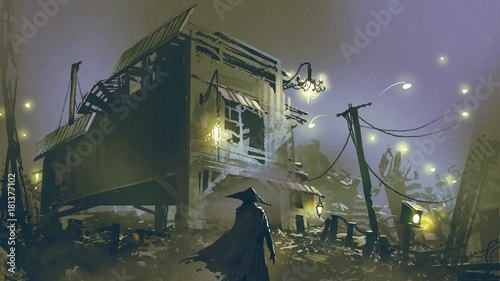 Poster Lavender night scene of a man looking at the old house with junk all around, digital art style, illustration painting