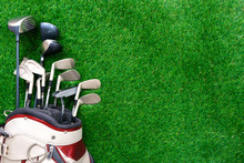 Golf Club In Bag On Green Grass