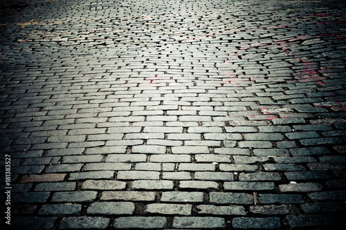Old New York City cobblestone street texture Canvas Print