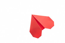 Red Heart Origami On White. Un...
