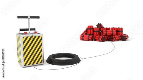 Papel de parede  detenator and dynamite packs in background. 3d illustration.