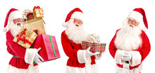 Collage Of Santa Claus - With Christmas Gifts