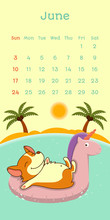 2018 June Calendar With Welsh Corgi Dog