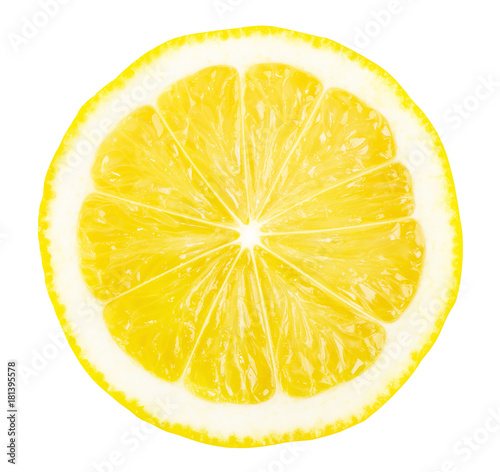 Fotografia, Obraz Lemon slice isolated on white background.
