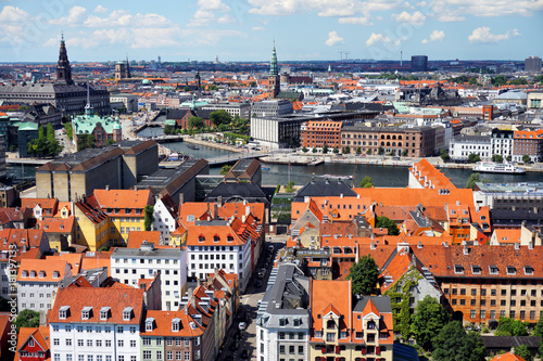 Panoramic view of Copenhagen Canvas Print