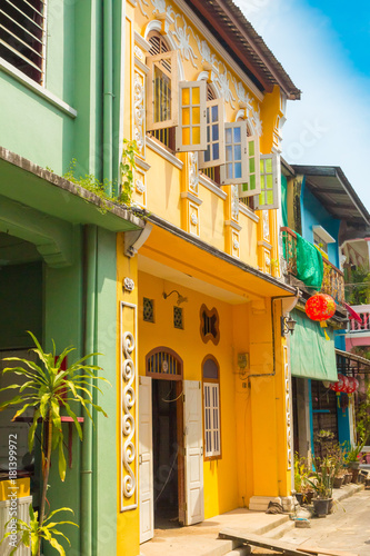 Canvas Prints Narrow alley typical Phuket home