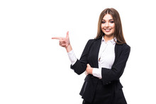 Business Woman Is Pointing With His Hand And Smiling On White Background
