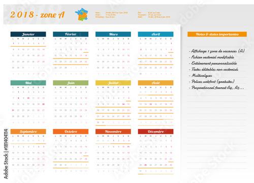 Calendrier Scolaire France.Calendrier Scolaire 2018 Zone A France Agenda Vacances