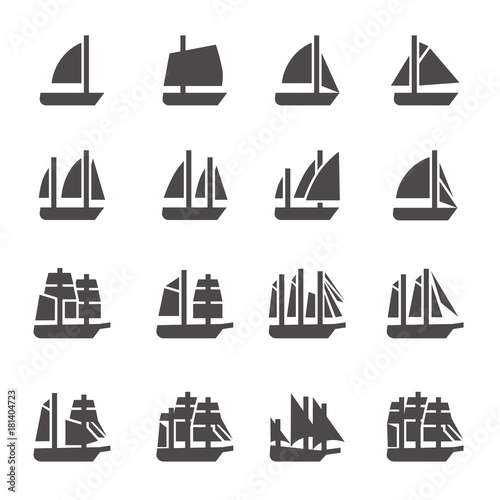 Fotografia Icons of sailing ships in glyph style / There are ships like cat, yal, sloop, cu