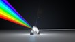 canvas print picture - white light ray dispersing to other color light rays via prism. 3d illustration