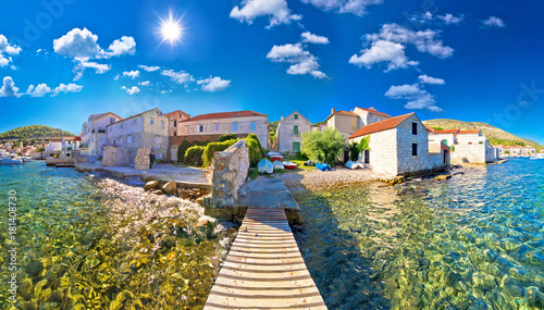 Obraz Island town of Vis idyllic waterfront view - fototapety do salonu