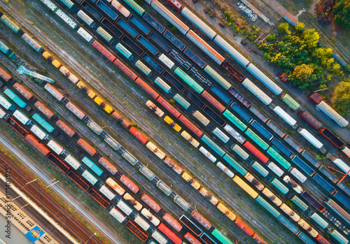 Top view of colorful cargo trains Fototapet