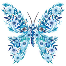 Winter Floral Butterfly With W...