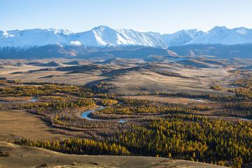 Panorama of Chuya ridge at Altai mountains, Siberia, Russia.