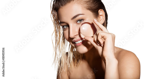 Glamour portrait of beautiful woman model with magnifying glass in her hands Fotobehang
