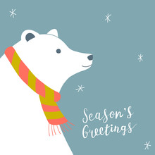 Christmas Card With Polar Bear, Wearing Scarf, And Hand Written Lettering