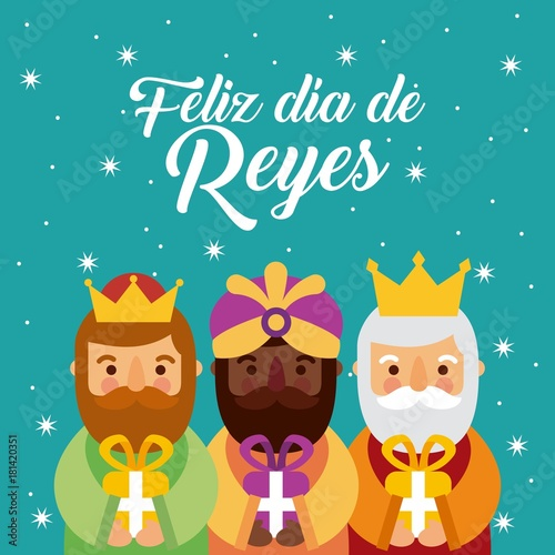 feliz dia de los reyes three magic kings bring presents to jesus vector illustra Canvas Print