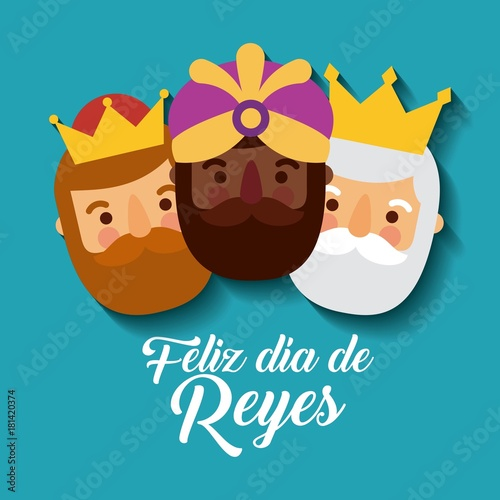 feliz dia de los reyes three magic kings bring presents to jesus vector illustra Wallpaper Mural