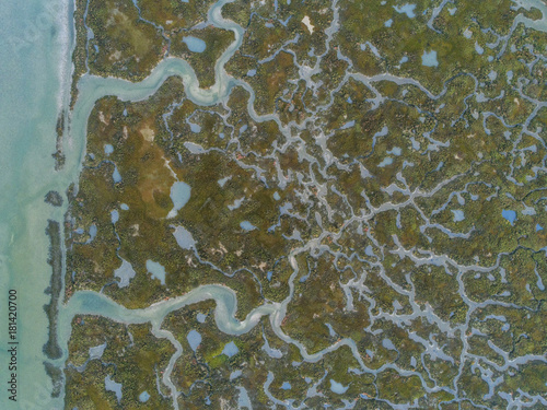 Obraz na plátne Aerial top down view seascape in Ria Formosa wetlands natural park, inland maritime channel
