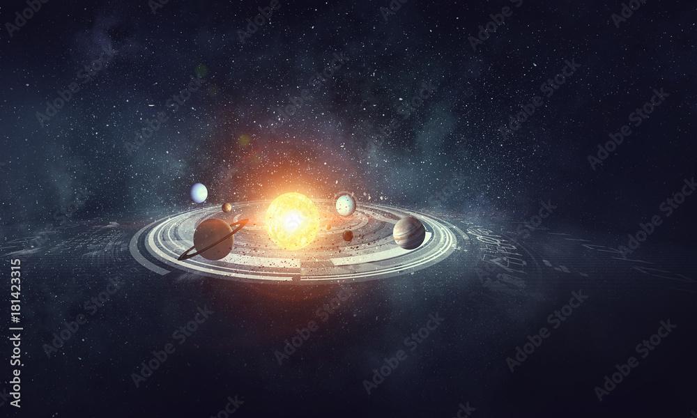 Fototapety, obrazy: System of planets . Mixed media