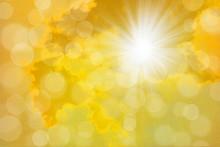 Dreamy Sun Rays Golden Bright Yellow Sky