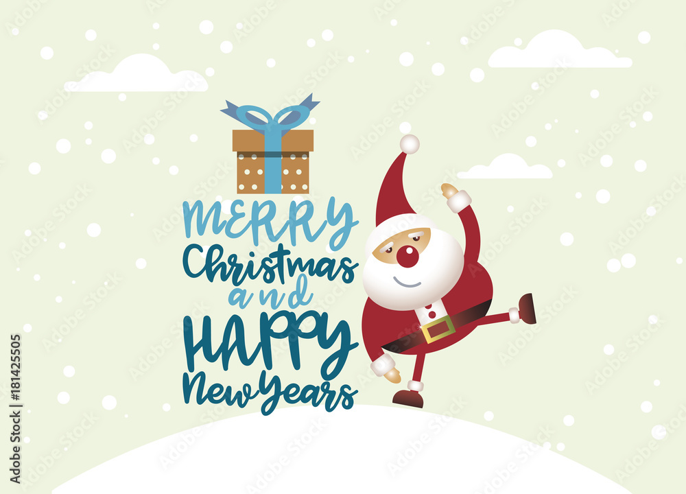 Fototapeta Cartoon Santa claus with a gift of toys in front winter background