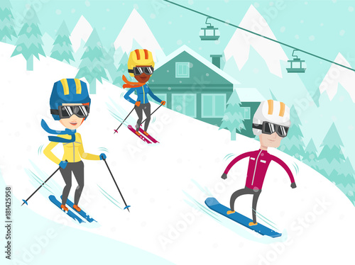 Group Of Multicultural People Have Fun While Skiing And Snowboarding On The Slope Young African American And Caucasian Tourists At Ski And Snowboard Winter Resort Vector Cartoon Illustration Buy This Stock Vector