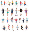 Collage of people with jumping ropes on white background