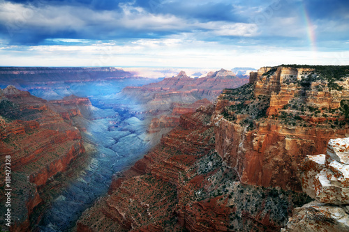 Fotobehang Canyon Early morning and rainbow. Cape Royal, North Rim Grand Canyon National Park Arizona, US