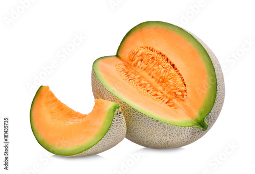 Obraz na plátně whole and slice of japanese melons, orange melon or cantaloupe melon with seeds