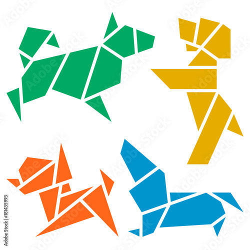 2018 Chinese New Year Symbol By Denis Fonchikov Vector Origami Dogs Icon Set Abstract Low Poly Pet Dog Breed Sign Silhouette Isolated On