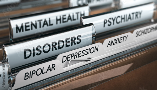 Stampa su Tela  Mental Illness List, Psychiatric Disorders