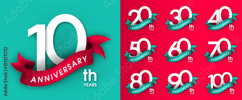 Cuadros en Lienzo Set of Anniversary emblems , anniversary template design for web, game ,Creative