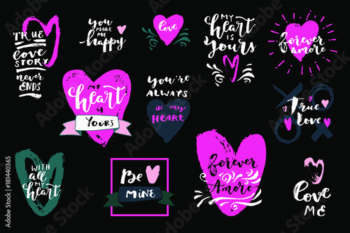 Set Of Love Quotes With Hearts My Heart Is Yours Forever Amore Be