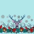 Deer and Birds Winter Seamless Border