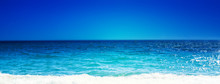 Sea Beach And Soft Wave Of Blue Ocean.  Summer Day And Sandy Beach Background, Beauty Nature.