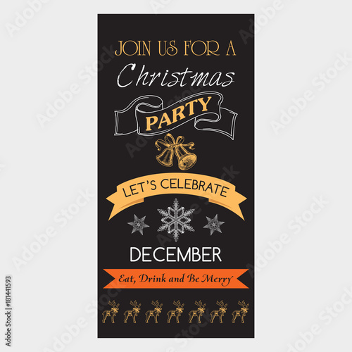 Vector Illustration Sketch Christmas Party Invitation With Toys