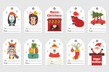 Set Of Gift Tags With Christmas Characters - Vector Illustration, Eps