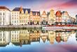 canvas print picture - Belgium historic city Ghent at sunset