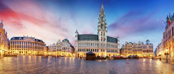 Fototapeta Grand Place in Brussels in night, Belgium