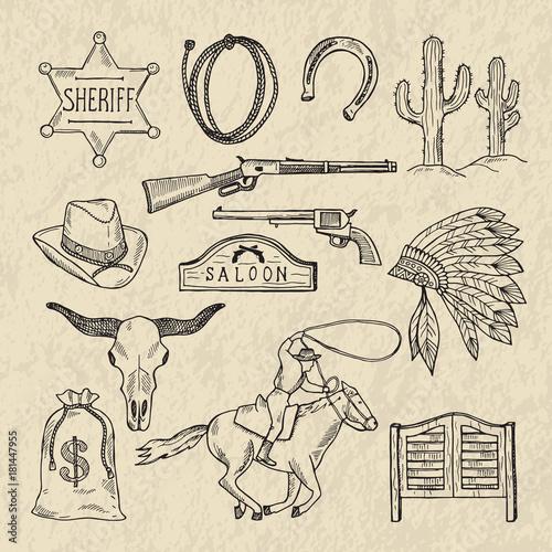 Fototapeta Monochrome hand drawn illustrations of different wild west symbols. Western pictures set isolate obraz
