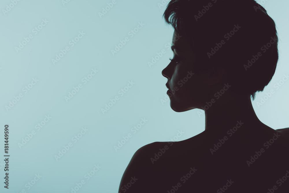 Fototapeta silhouette of beautiful woman
